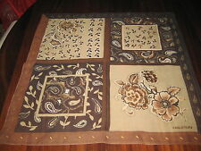 """Halston Floral Scarf 20"""" Square Black Brown Beige Good Used Condition"""