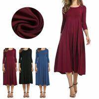 Casual Solid Womens Long Sleeve Shirt Maxi Dress Flared Swing Skater Midi Skirts