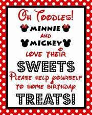 Disney Mickey & Minnie Mouse Oh Toodles Treat Cardstock Birthday Sign/Red