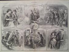 Thanksgiving Sketches Rich Man Poor Man Turkey 1866 Antique Print Harpers Weekly