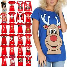 Womens Ladies Red Nose Xmas Reindeer Gifts Tee Cap Sleeves Top T Shirt Size 8-14