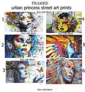 Framed canvas Print painting Art graffiti urban princess wall decor abstract