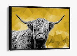 HIGHLAND COW MUSTARD YELLOW GEOMETRIC -FLOAT EFFECT CANVAS WALL ART PIC PRINT-