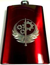Brotherhood of Steel Fallout Engraved Red Steel 8oz Hip Flask Liquor FEN-0040