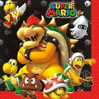 SUPER MARIO BROS LUNCH NAPKINS PACK OF 16 PARTY FAVOURS SUPPLIES