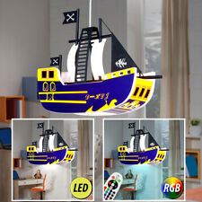 RGB LED Decken Hänge Lampe Dimmer Fernbedienung Kinder Zimmer Piraten Schiff