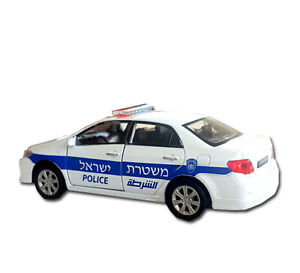 Israeli Police Toyota Corolla Tenth Generation DieCast Toy Car 1:38 Pull Back Re