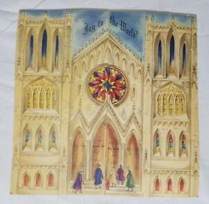 """Hallmark """"Joy To The World"""" 1954 Advent Calendar Fold Out Church Christmas Paper"""