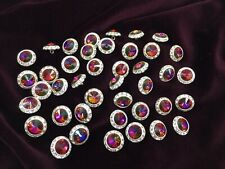 "Lot 41 Czech Medium Rivoli Rhinestone Shank Buttons Rainbow Colors 5/8"" Vintage"