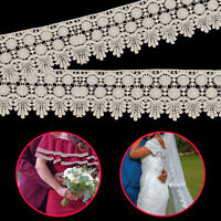 Cotton Embroidered Lace Trim Edging Sewing Craft Vintage Retro Ivory Ribbon