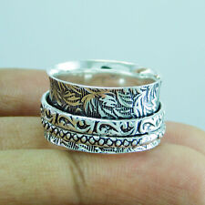 925 Sterling Silver Plated Meditation Spinner Ring US Size 9 R-865