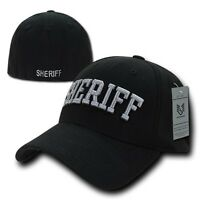 Black Sheriff Officer Cop Embroidered Flex Baseball Fit Fitted Ball Cap Hat L/XL