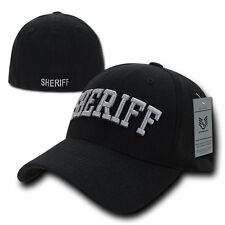 Black Sheriff Officer Cop Embroidered Flex Baseball Fit Fitted Ball Cap Hat S/M