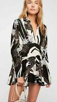 Free People Field Of Flowers Black Floral Print Tunic Top Size XS
