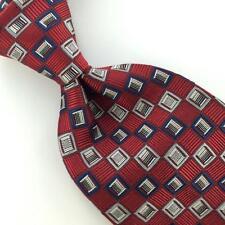BURMA BIBAS SELF TIPPED Checkered Silver Red HEAVY Woven SILK Necktie I1-927 New