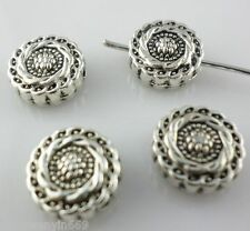 14pcs Tibetan silver Oblate Sunflower Spacer Beads 4.5*10mm