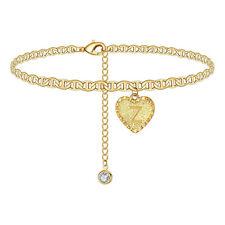 Zircon Pendant Anklet Bracelet Accessories Fashion Gold Z Letter Heart Initials
