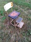 Vintage Cosco Mid-Century Step Stool Chair Pull Out Steps Yellow and Chrome