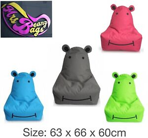 Large Kids Hippo Bean Bag Gaming Chair, waterproof indoor outdoor use 4 Colours