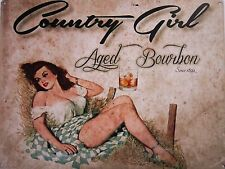 Country Girl Aged Bourbon Pin-up Metal Sign