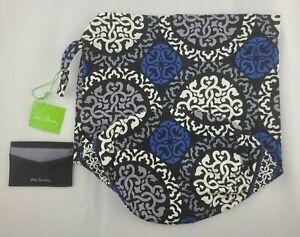 Vera Bradley Ditty Bag Canterbury Cobalt Credit Card Holder Black