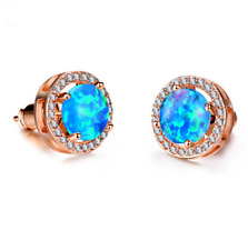 1 Pair Woman Fashion Rose Gold  Blue Fire Opal Charm Stud Earring NEW