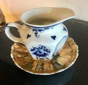 lot Antique Russian Kuznetsov  Porcelain Plate & creamer