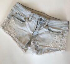 American Eagle Sz 6 Crochet Lace Cut Off Jean Shorts Light Distressed G14