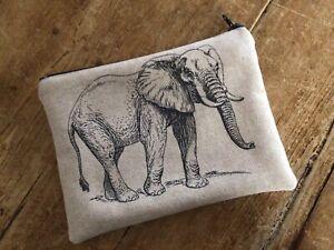 Handmade Make Up Bag Linen Mix Safari Elephant Zebra Fabric