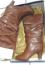 NWD Women Steve Madden Brown High Heel Shoe Boots size 8.5 Damaged