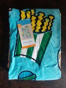 Beach Towel w/ Food Light Blue NWT