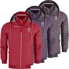 Crosshatch Mens Hooded Windbreaker Jacket Showerproof Rain Coat Zip Pockets
