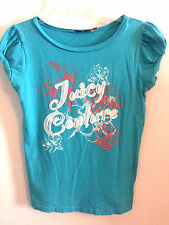WOMENS JUICY COUTURE BLUE PINK & WHITE T-SHIRT RETRO LOOK GRAPHIC TEE, SIZE M