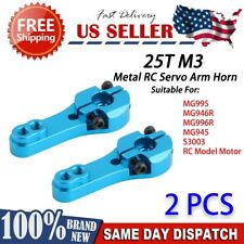 2x blue 25T M3 Metal RC Servo Arm Horn for Futaba Savox Xcore HSP Power US