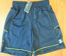 New! Under Armour Mens Polyester Athletic Shorts Black & Neon Yellow Medium, M