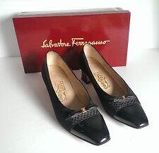 Salvatore Ferragamo Heels Black Italian Shoes Italy Formal Size 8.5 AA