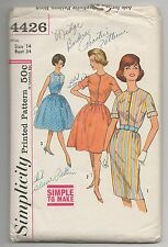 VTG 1960s SIMPLICITY 4426 MISSES DRESS W/2 SKIRTS PATTERN SZ 14 BUST 34 RETRO