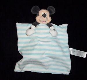 Disney Baby Blue White Stripe Mickey Mouse Blanket Sticky Feet Plush Security