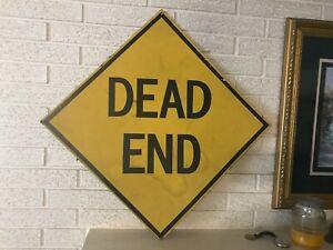 """Vintage cardboard Dead End Sign 21 x 21"""""""