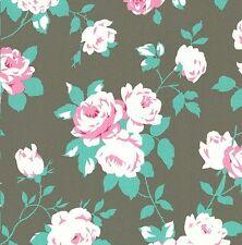 Chloe - Rose Vine Cuttings - Smoke Gray by Tanya Whelan 100% cotton fabric