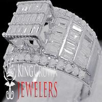 Ladies 10K White Gold Finish Princess Cut Simu Diamond Engagement Wedding Ring