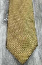 Vintage  Oscar de la Renta Menswear Gold Geometric Luxury Silk Tie Necktie USA