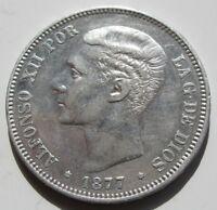 ALFONSO XII , BONITAS 5 PESETAS DE 1877 .  PLATA