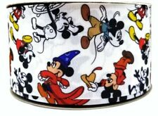 "1"" 2Yards Mickey Mouse Grosgrain Ribbon Hair Bows Scrapbks Craft Cards Gift Wrap"