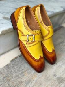 Elegant Handmade Men's Brown & Yellow leather Monk dress shoes,New leather shoes