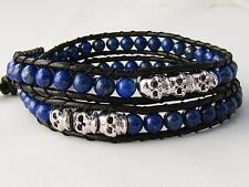 2 Wrap Bracelet 4mm LAPIS LAZULI beads SILVER skull beads leather bracelet