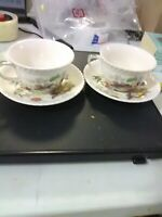 2 Vintage Johnson Bros China - Bird of Paradise - Cups and Saucers - Multi-color