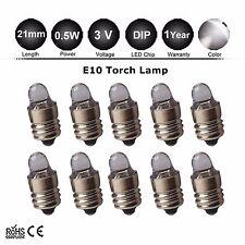 10pcs Lamp LED Bulb 3 Volt White MES E10 Screw Base for Torch bike bicycle Light