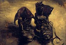 Grande STAMPA INCORNICIATA-Vincent Van Gogh Vecchi Stivali REPLICA (FOTO pittura arte)