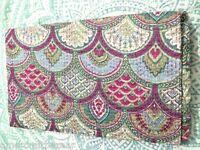 Indian Handmade Quilt Vintage Kantha Bedspread Throw Cotton Blanket Gudri twin**